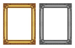 Vintage gold and gray frame isolated on white background.  Stock Image