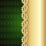 Vintage gold and green background with laurel leaves. Vector illustration Royalty Free Stock Photo