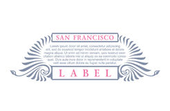 Vintage gold hipster label with lettering San Francisco. Logo template for your sign, poster, clothing, badge Royalty Free Stock Photos