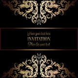 Vintage gold invitation or wedding card on black background, divider, header, ornamental lacy vector frame Stock Photos