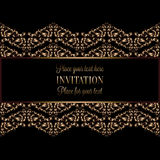 Vintage gold invitation or wedding card on black background, divider, header, ornamental lacy vector frame Royalty Free Stock Image