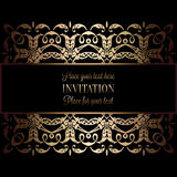 Vintage gold invitation or wedding card on black background, divider, header, ornamental lacy vector frame.  Royalty Free Stock Photo