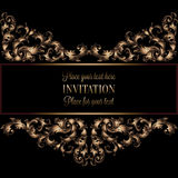 Vintage gold invitation or wedding card on black background, divider, header, ornamental lacy vector frame Royalty Free Stock Images