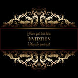Vintage gold invitation or wedding card on black background, divider, header, ornamental lacy vector frame.  Royalty Free Stock Image