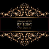 Vintage gold invitation or wedding card on black background, divider, header, ornamental lacy vector frame.  Stock Photo