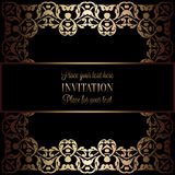 Vintage gold invitation or wedding card on black background, divider, header, ornamental square lacy vector frame Stock Photos