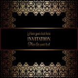 Vintage gold invitation or wedding card on black background, divider, header, ornamental square lacy vector frame Royalty Free Stock Photos