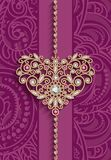 Vintage gold jewellery heart on pink background. Vintage gold jewellery pendant in shape of heart decorated with diamonds and ruby gems, women`s jewelry royalty free illustration