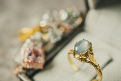 Vintage gold Jewelry blue sapphire ring in jewelry box Stock Photo