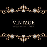 Vintage gold jewelry frame Stock Photos