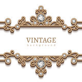 Vintage gold jewelry frame on white Royalty Free Stock Photo