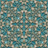 Vintage gold jewelry lace, seamless pattern stock illustration