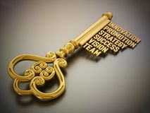 Vintage gold key with business and success related words. 3D illustration vector illustration