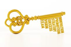 Vintage gold key with business and success related words. 3D illustration stock illustration