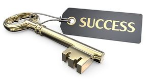 The golden Key to Success. Vintage Gold Key and Tag label with the text Success. 3D render royalty free illustration