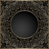 Vintage gold lace frame with round hole Stock Photo