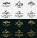 Vintage gold logo Elements. Flourishes Calligraphic Ornament. Elegant emblem monogram luxury logo. Floral royal line logo design. Royalty Free Stock Photography