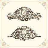 Vintage gold logo set. Flourishes crest calligraphic ornament. Elegant emblem monogram luxury logo. Floral royal line logo design. Vector crest logo restaurant Stock Images