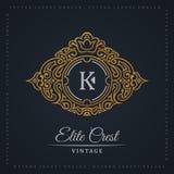 Vintage gold logo set. Flourishes crest calligraphic ornament Stock Photos