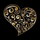 Vintage gold ornamental love heart pattern. Hand drawn line art Royalty Free Stock Image