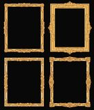 Vintage gold ornate square frames isolated. Retro shiny luxury golden vector borders. Luxury frame carving photo and picture illustration Royalty Free Stock Photography