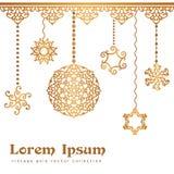 Vintage gold pendants on white background. Vintage gold pendants, swirly decoration on white background, golden invitation or greeting card design Stock Photo