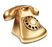Vintage gold phone. 3d illustration  Royalty Free Stock Photo