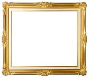 Vintage gold picture frame. Isolated on white background stock image