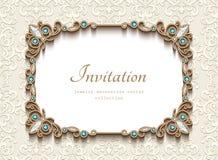 Free Vintage Gold Rectangle Frame, Diamond Jewelry Card Royalty Free Stock Photos - 86038938