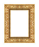 Vintage gold rose frame isolated on white background. And clipping path Stock Photography