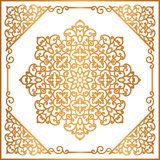 Vintage gold round ornament in square frame. Mandala, swirly decoration in oriental style on white Stock Image