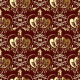 Vintage gold royal damask seamless pattern on the dark red vecto. R background. Ornate wallpaper. Abstract gold crown. Floral hand drawn ornaments, flowers Royalty Free Stock Image