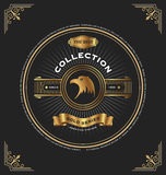 Vintage gold series CD Cover. Template design. Circle frame design with the eagle and ribbon. Vector illustration Royalty Free Stock Photography