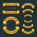 Vintage gold shiny ribbons retro style Stock Photography