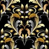 Vintage gold silver damask seamless pattern. Floral baroque styl. E ornamental background. Leafy elegant ornaments. Decorative antique flowers, leaves, dots Stock Illustration