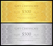 Vintage gold and silver gift certificate with lace Stock Photo