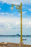 A vintage gold streetlight at seaside Stock Images