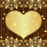 Vintage gold valentine frame Royalty Free Stock Photos
