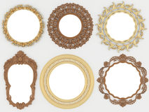 Vintage gold and wooden empty round picture frames Stock Photo