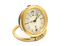 Vintage golden alarm clock Royalty Free Stock Image
