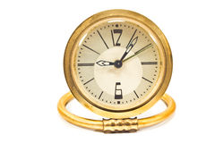 Vintage golden alarm clock Stock Images