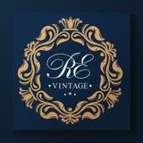 Vintage golden art frame. Leafy ornament. Vector template monogram initials. vector illustration