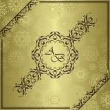 Vintage golden background, antique card. Retro ornament, luxury design stock illustration
