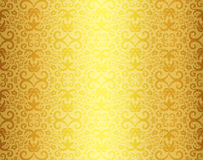 Vintage golden background with damask ornament Stock Images