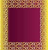 Vintage golden border. On a purple background stock illustration