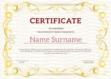 Vintage golden classic certificate ,Certificate of achievement t. Emplate Royalty Free Stock Photos