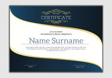 Vintage golden classic certificate ,Certificate of achievement t. Emplate Stock Images