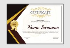 Vintage golden classic certificate ,Certificate of achievement t. Emplate Royalty Free Stock Image