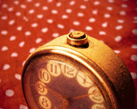 Vintage golden clock covered in dust Stock Photography