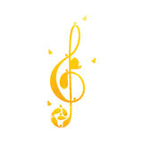 Vintage golden colored treble clef with birds Royalty Free Stock Photo